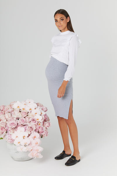 London Ribbed Skirt (Grey) - LEGOE.