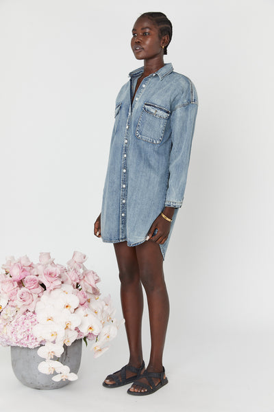 Oversized Denim Shirtdress (Blue Denim)