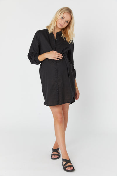 Reef Linen Shirtdress (Black)