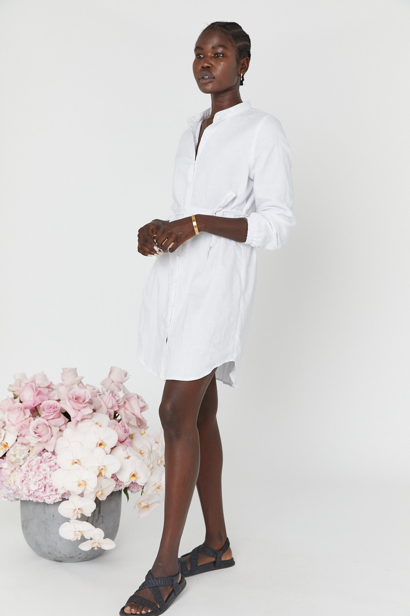 Reef Linen Shirtdress (White)