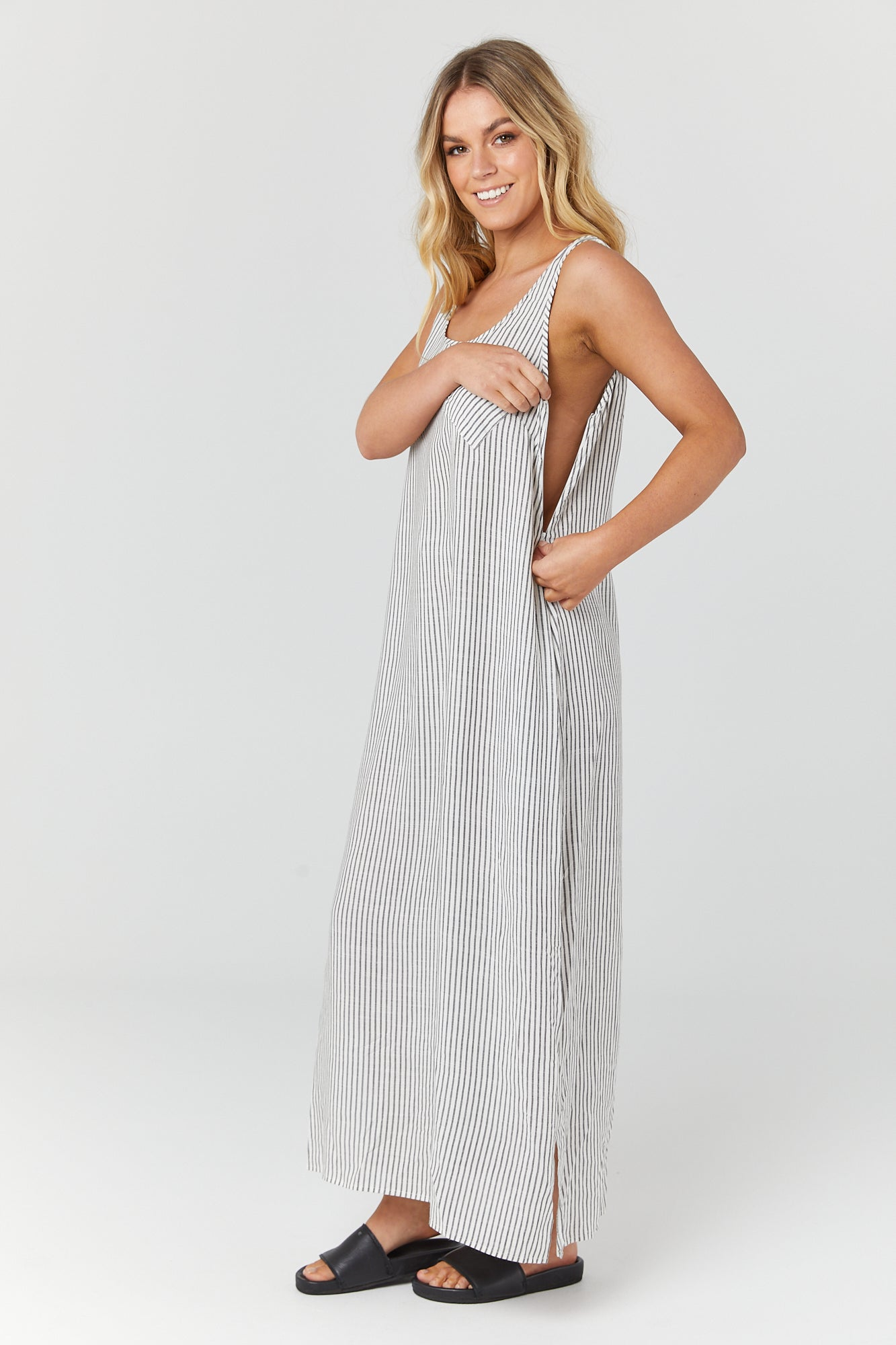 Ryder Dress (Charcoal Stripe)