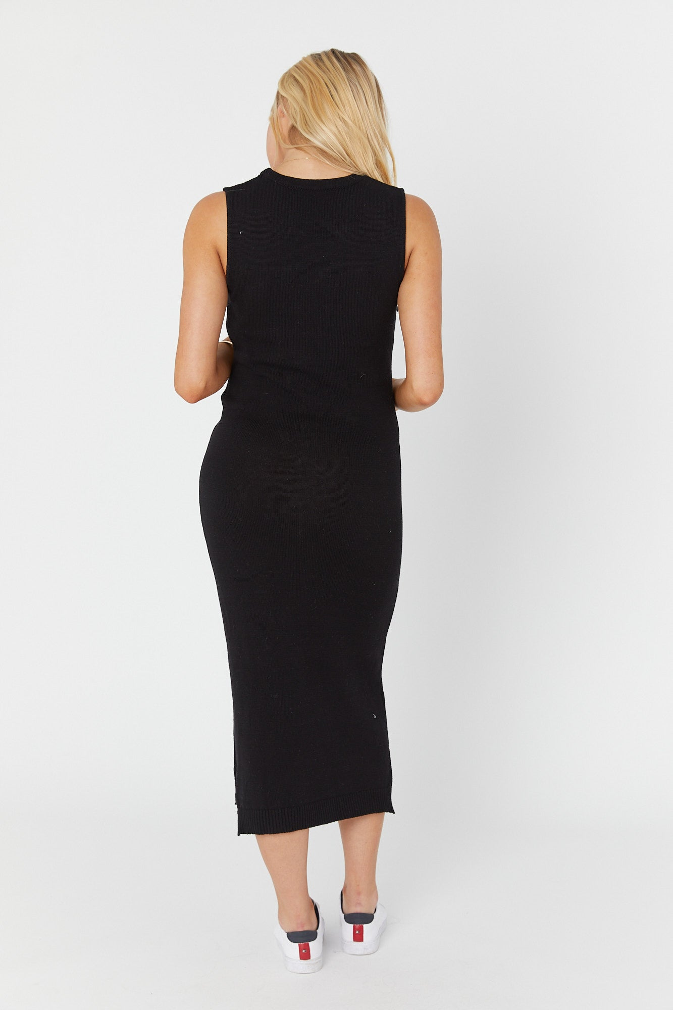 Shift Knit Midi Dress (Black)