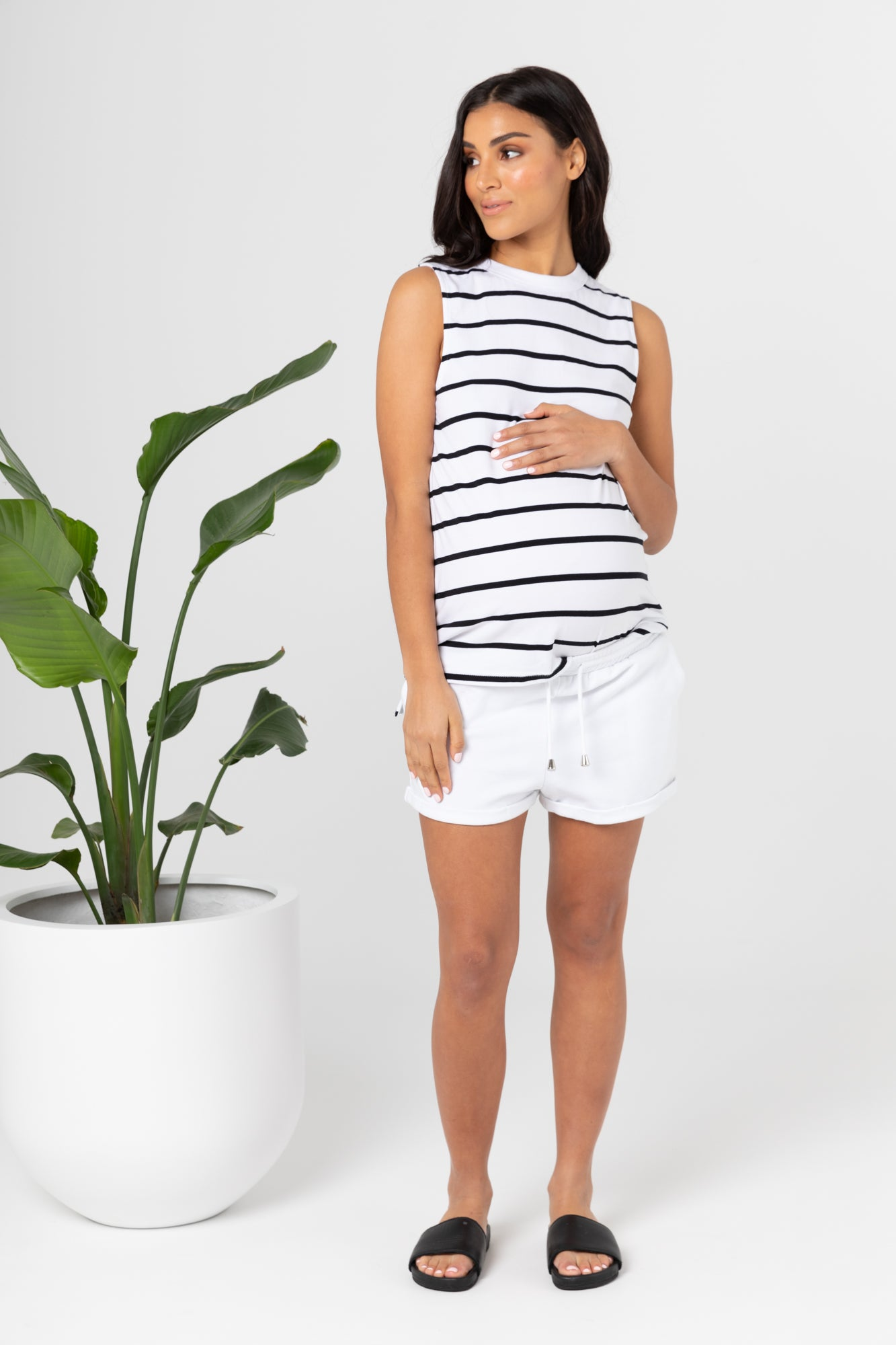 Sicily Tank (White/Black Stripe)