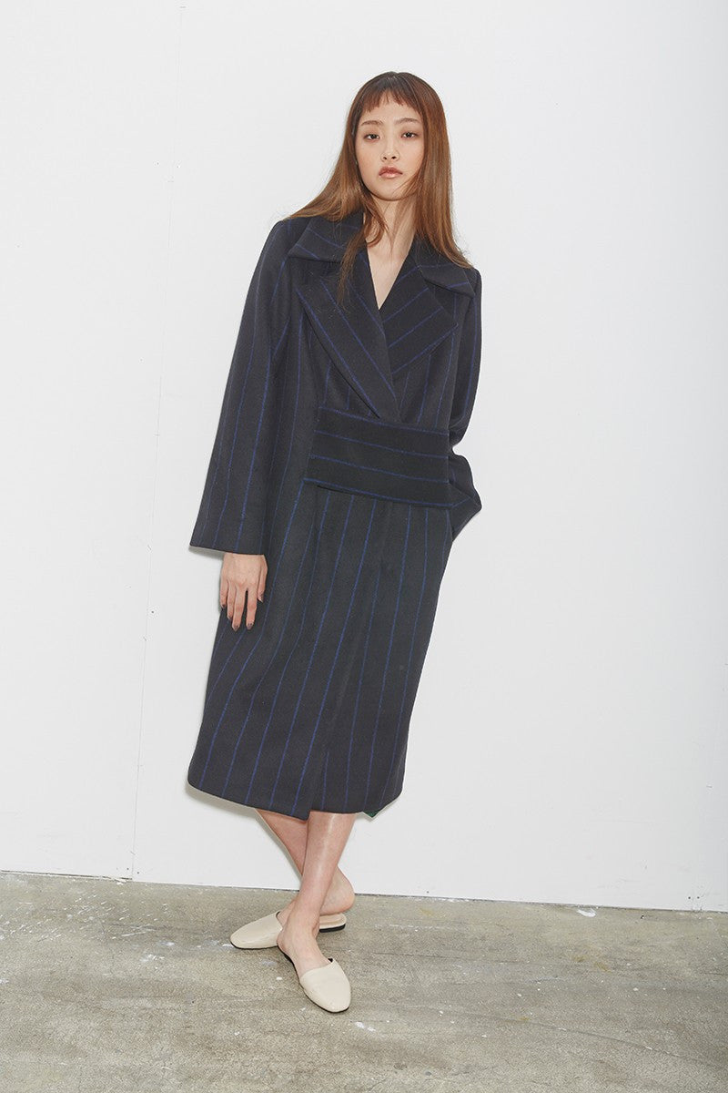 STRIPE BELT COAT