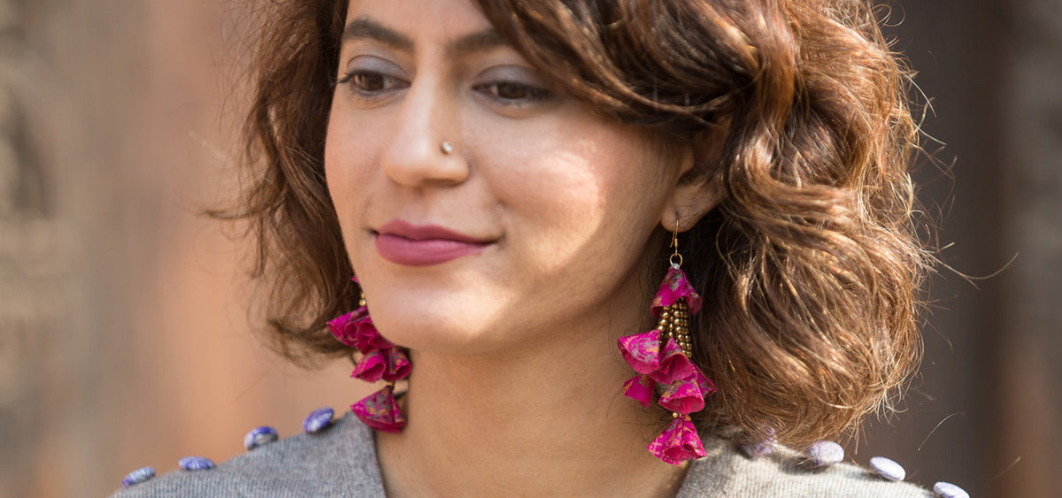 Sustainable Fashion Sari earrings