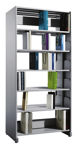 Fonzel.com - Library Shelving - BD1B61 PT - Double Sided, 1 Bay Library Shelving with Side Panels.