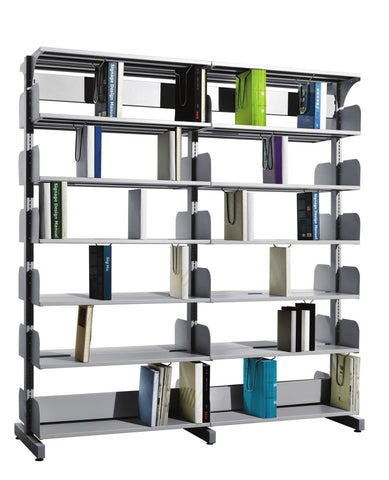 Fonzel.com - Library Shelving - BS2B61 - Double Sided, 2 Bay Library without Side Panels.