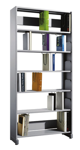 Fonzel - Library Shelving - BS1BA61 - Single Sided, 1 Bay Library Shelving Add On Unit with Side Panels.