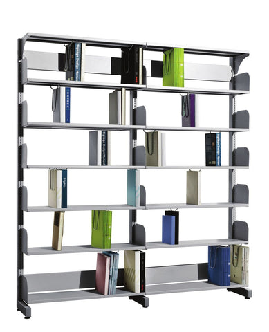 Fonzel.com - Library Shelving - BD2B61 - Double Sided, 2 Bay Library Shelving without Side Panels.