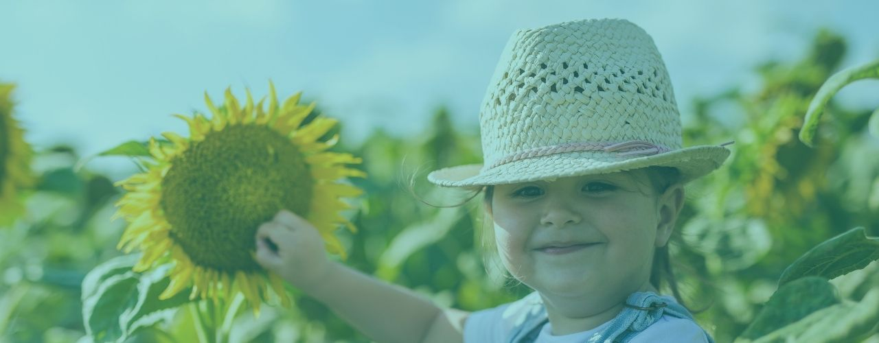 Little girl touching a sunflower looking at the camera