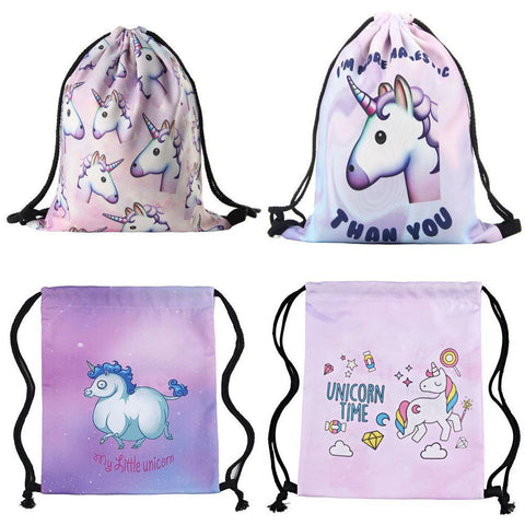 Pink Unicorn Drawstring Bags (17 styles available)