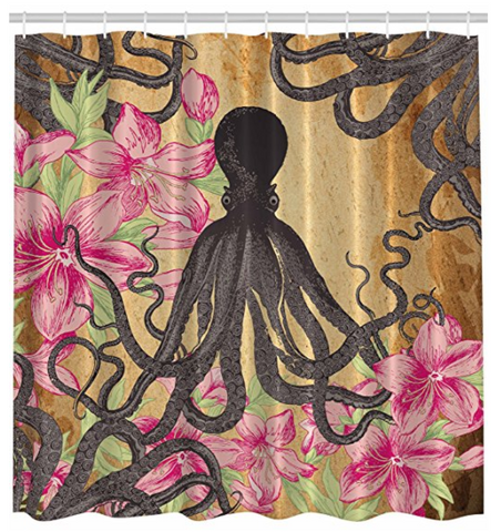 Kraken Octopus Roses Leaves Tentacles Shower Curtain