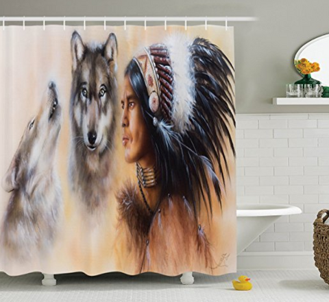 Native America Wolves Shower Curtain