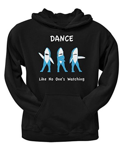 Shark Dancing Black Adult Pullover Hoodie