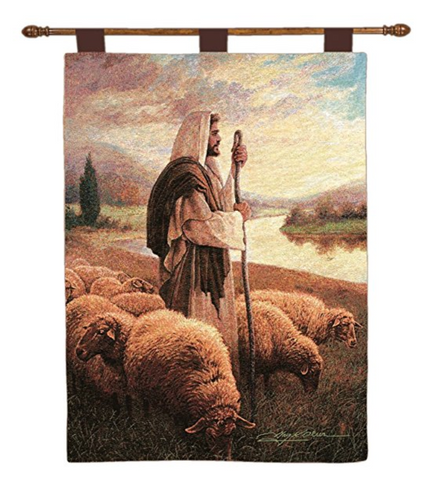 Good Shepherd Woven Wall Art with Finial Rod