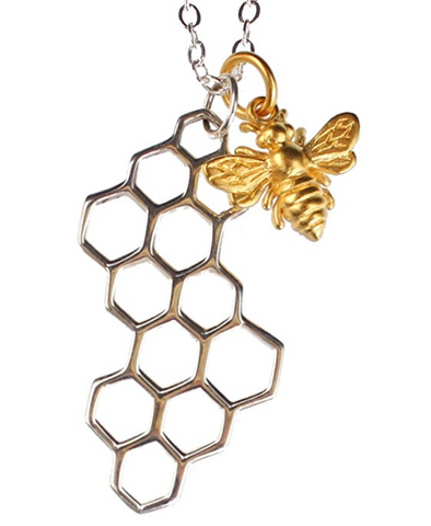 24k Gold Plated Bronze Honey Bee and Sterling Silver Honeycomb Necklace