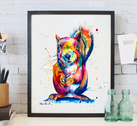 Colorful Squirrel Watercolor Painting