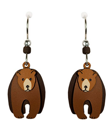 Three-Part Grizzly Bear Earrings