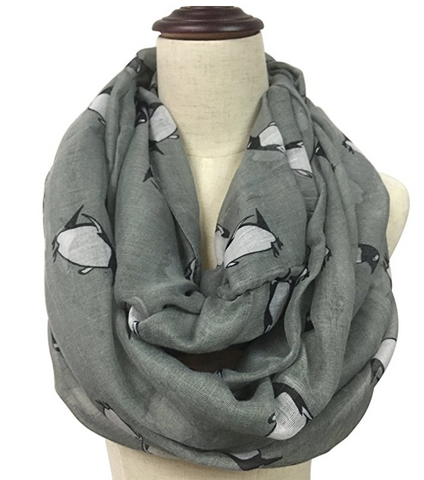 Penguin Print Soft Infinity Voile Scarf