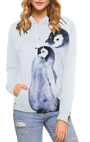 Watercolor Penguins Pullover Hoodie Sweatshirt