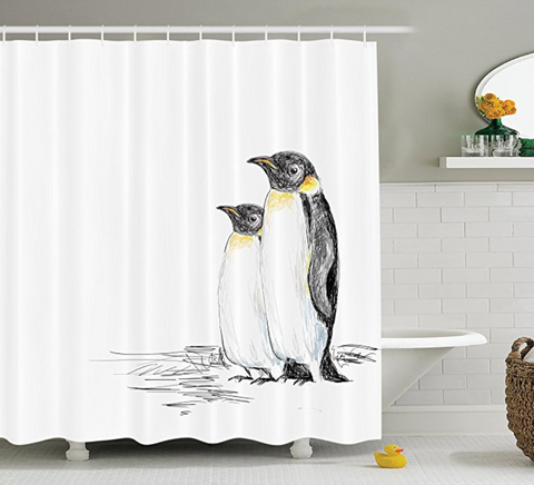 Hand Drawn Style Penguins Shower Curtain