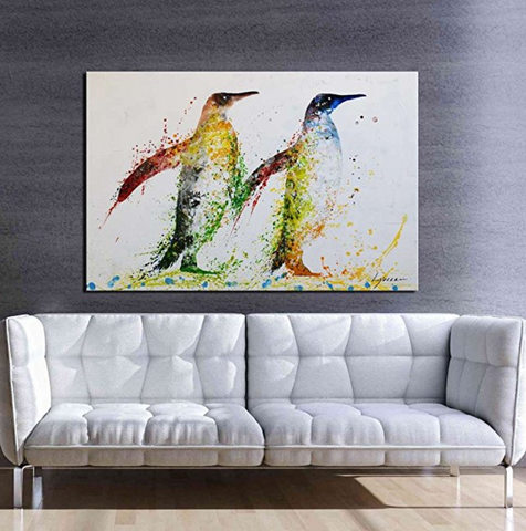 Hand-painted Penguin Framed Oil Painting on Canvas