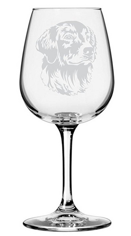 Golden Retriever Dog Themed Etched Wine Glass