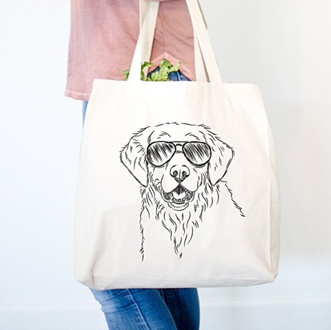 Toby the Golden Retriever Canvas Tote Bag