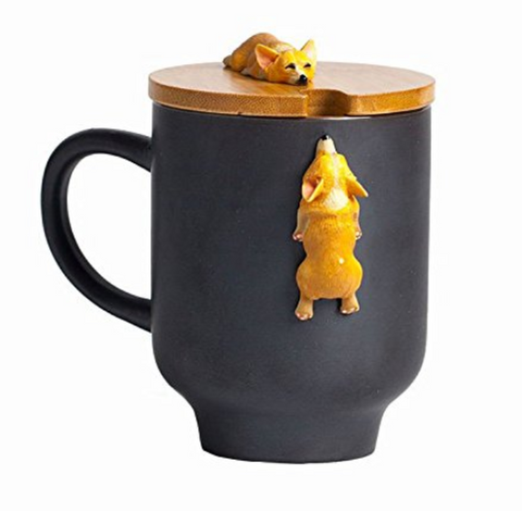 Corgi Coffee Mug with Lid