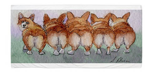 Five Corgi Butts - Large Beach Towel