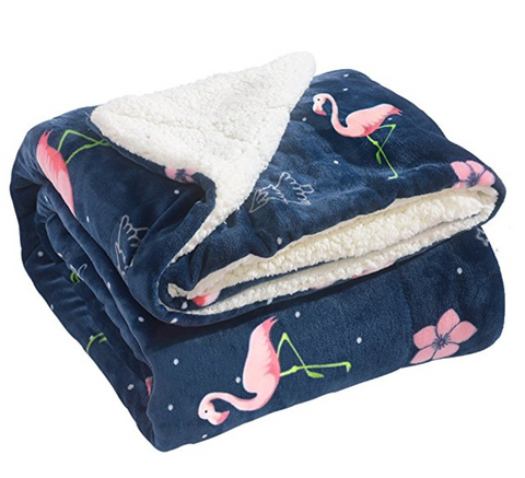 Flamingo Print Warm Fleece Blanket