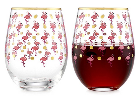 Flamingo Stemless Wine Glasses