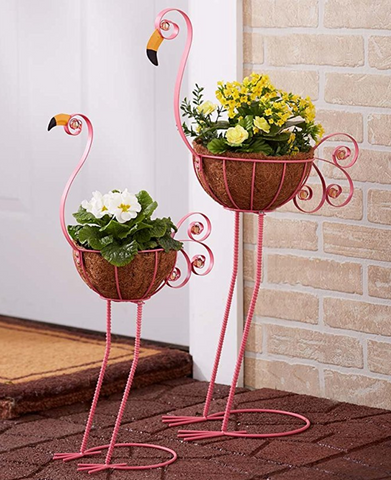 Set of 2 Flamingo Planters
