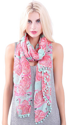 Flamingo Print Scarf with Tassels