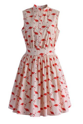 Summer Tropical Pink Flamingo Skirt Dress