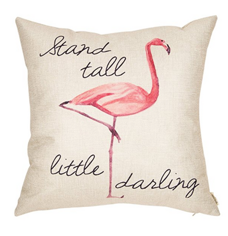 Stand Tall Little Darling Watercolor Flamingo Throw Pillow Case