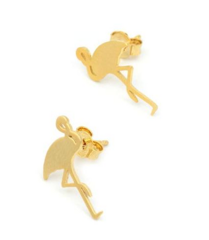 Delicate Flamingo Metal Stud Earrings