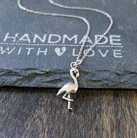 Sterling Silver Flamingo Charm Pendant Necklace
