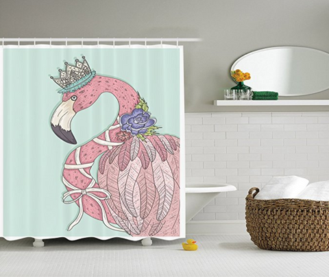 Cute Flamingo with Flower Crown Shower Curtain