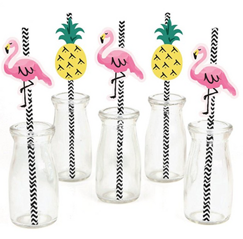 Flamingo Paper Straw Decor