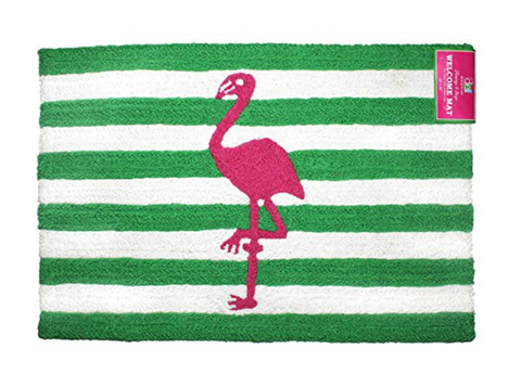 Flamingo & Stripe Indoor Outdoor Accent Rug
