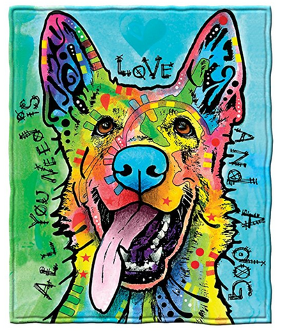 Love and a Dog German Shepherd Fleece Throw Blanket