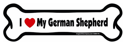 Bone Car Magnet, I Love My German Shepherd