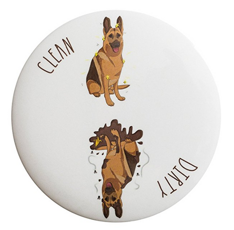 Clean Dirty German Shepherd Dishwasher Magnet