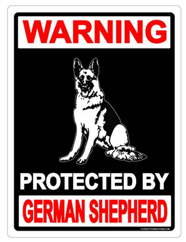 German Shepherd Metal Sign Danger Protected