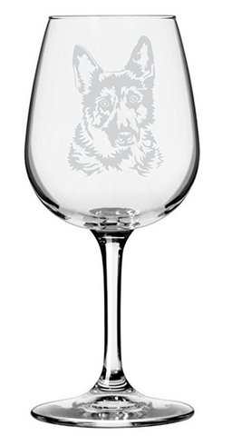 German Shepherd Dog Themed Etched Wine Glass