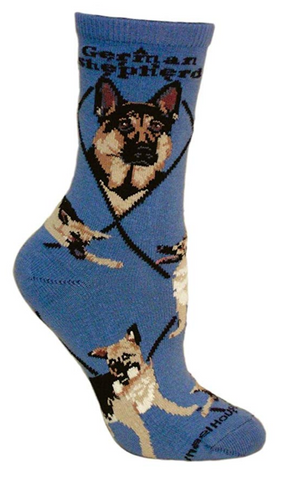 German Shepherd Dog Blue Cotton Ladies Socks
