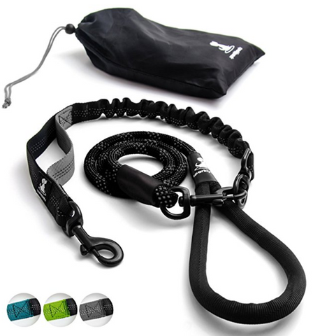 Heavy Duty Rope Leash for Large and Medium Dogs with Anti-pull Bungee for Shock Absorption