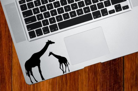 Giraffe Mom and Baby Keyboard Vinyl Decal