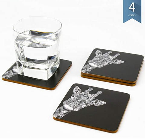 Giraffe Coasters With Cork Backing